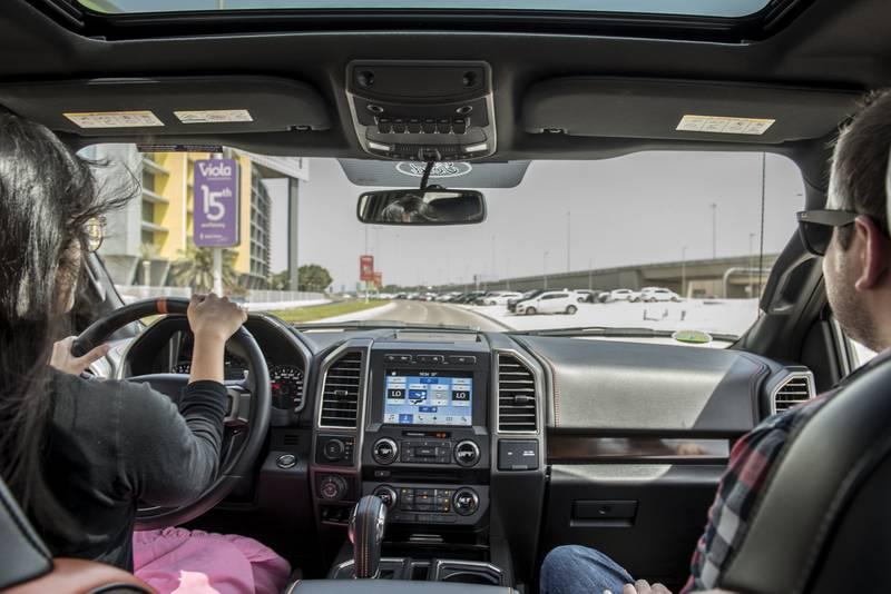 Hafsa Lodi and Adam during Ford F-150 Raptor road test shoot, Abu Dhabi , UAE , Vidhyaa for The National , ID 22681