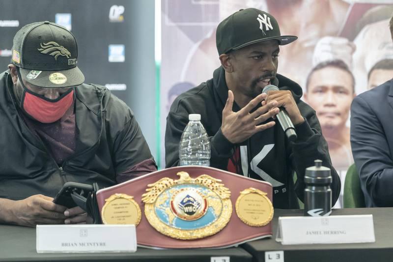 DUBAI, UNITED ARAB EMIRATES. 01 APRIL 2021. Tom Urguhart leads a press conference with Ahmed Al Siddiqi for the upcoming boxing match between Jamel Herring and Carl Frampton. (Photo: Antonie Robertson/The National) Journalist: Amith Passela. Section: Sport.
