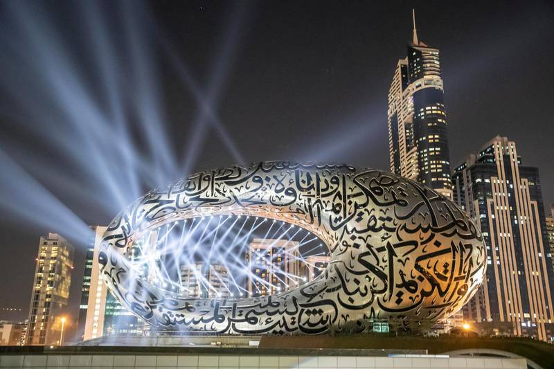 DUBAI UNITED ARAB EMIRATES. 01 DECEMBER 2020. Test of the light show to celebrate the 49th UAE National Day celebrations projected on the Museum of The Future. (Photo: Antonie Robertson/The National) Journalist: None. Section: National.