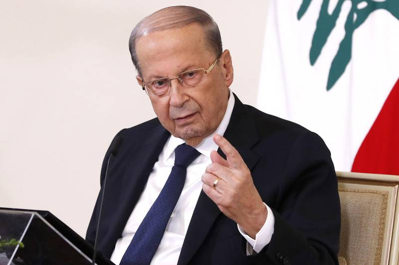 """A handout picture provided by the Lebanese photo agency Dalati and Nohra on October 21, 2020 shows Lebanese President Michel Aoun holding a televised press conference at the presidential palace in Baabda, east of the capital Beirut. === RESTRICTED TO EDITORIAL USE - MANDATORY CREDIT """"AFP PHOTO / HO / DALATI AND NOHRA"""" - NO MARKETING - NO ADVERTISING CAMPAIGNS - DISTRIBUTED AS A SERVICE TO CLIENTS ===  / AFP / DALATI AND NOHRA / - / === RESTRICTED TO EDITORIAL USE - MANDATORY CREDIT """"AFP PHOTO / HO / DALATI AND NOHRA"""" - NO MARKETING - NO ADVERTISING CAMPAIGNS - DISTRIBUTED AS A SERVICE TO CLIENTS ==="""