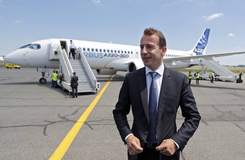 epa07078722 (FILE) - Guillaume Faury, President of Airbus' Commercial Aircraft branch, poses in front of a new Airbus A220-300 Single-Aisle aircraft during its presentation at the Airbus delivery center in Colomiers, near Toulouse, France, 10 July 2018 (re-issued 08 October 2018). Media reports on 08 October state that the run for the CEO post at Airbus might already be decided - Guillaume Faury is expected to succeed German CEO Tom Enders and could be already named later the same day, sources from the company were quoted as saying.  EPA/GUILLAUME HORCAJUELO *** Local Caption *** 54479538
