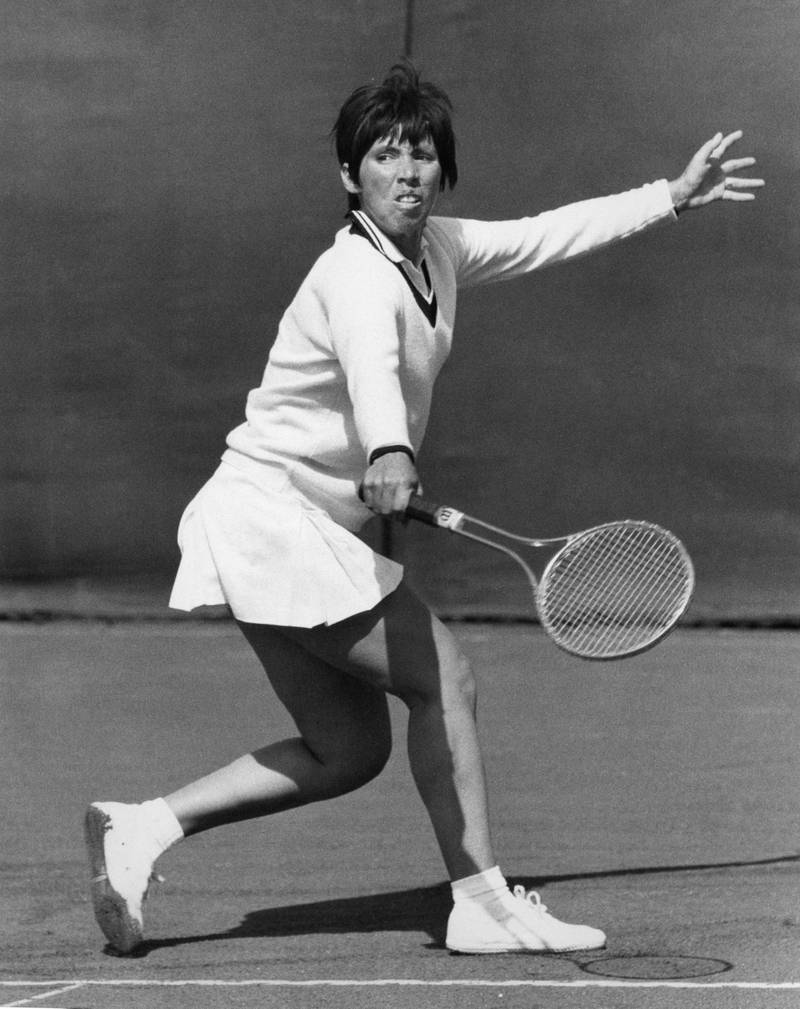 American tennis player Rosemary Casals playing Patricia Cody in the first round of the Rothmans Hard Court Lawn Tennis Championship at Bournemouth, 27th April 1970. Casals won the match 6-3, 6-0.  (Photo by Leonard Burt/Central Press/Hulton Archive/Getty Images)