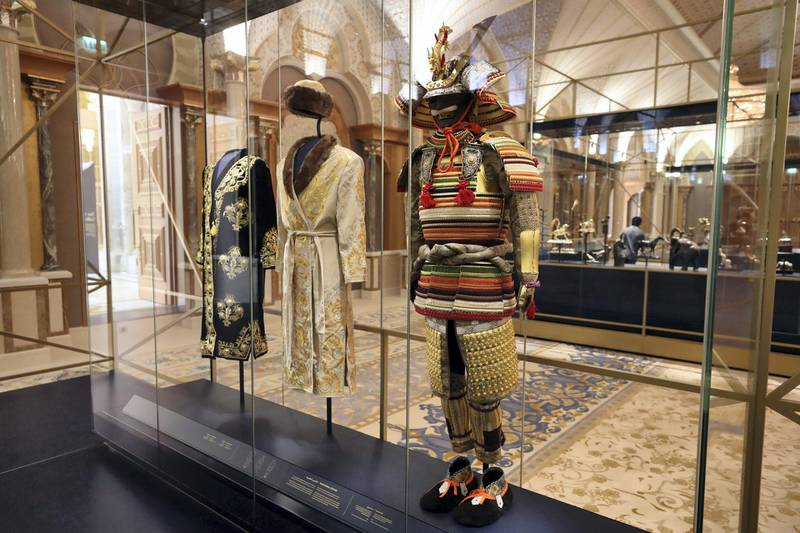 Abu Dhabi, United Arab Emirates - March 11, 2019: A Samurai Armour from Japan in the Presidential gifts room. Exclusive preview and guided tour of Qasr Al Watan, the UAEÕs new cultural landmark. Monday the 11th of March 2019 at Qasr Al Watan, Abu Dhabi. Chris Whiteoak / The National