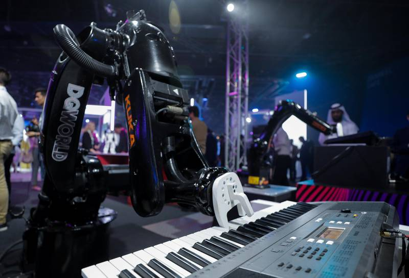 Dubai, April 30, 2019.  Ai Everything show at the Dubai World Trade Centre.--  A Music Bot plays an electric piano at the show.Victor Besa/The NationalSection:  NAReporter:  P. Ryan and A. Sharma