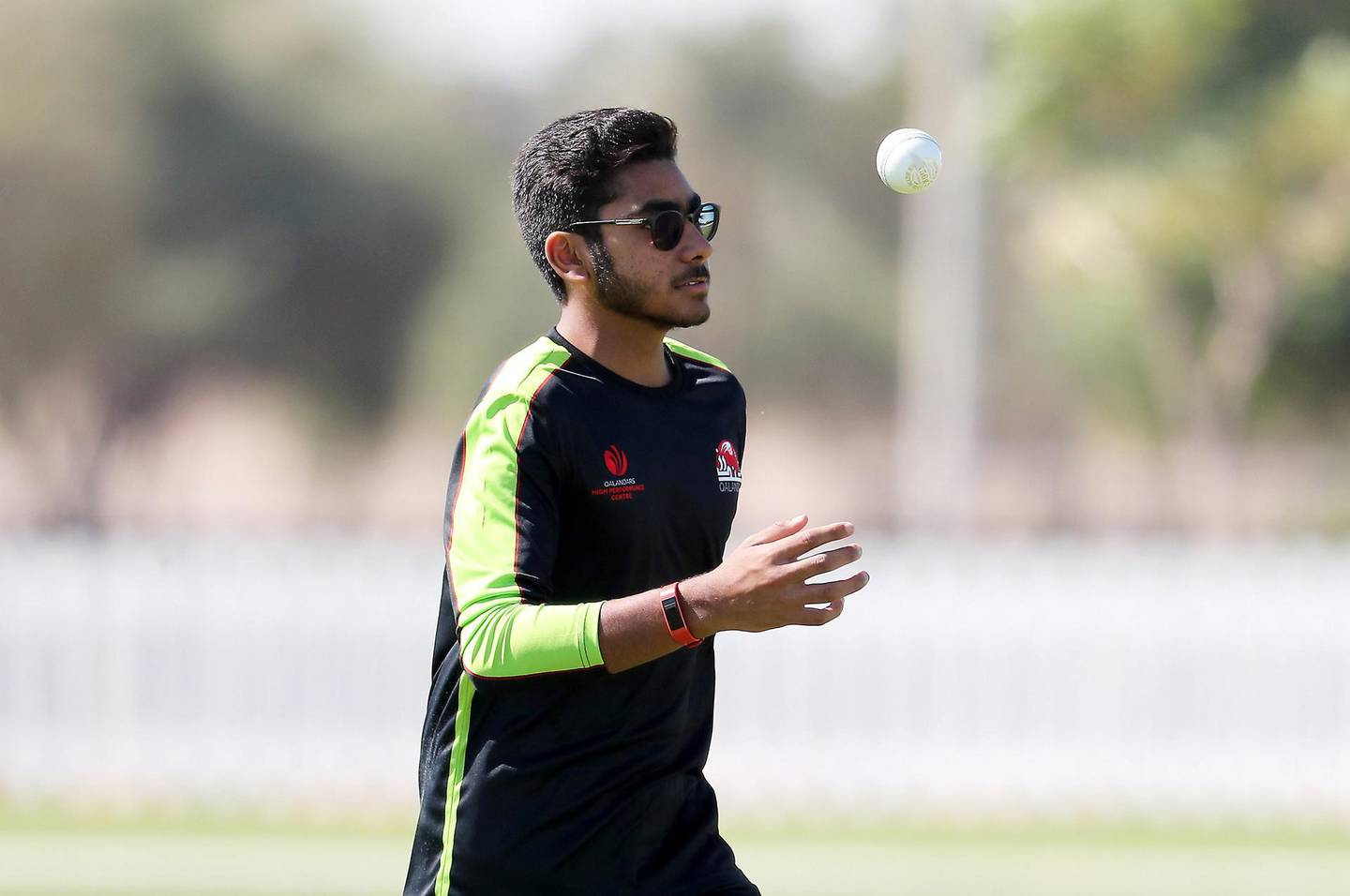 ABU DHABI, UNITED ARAB EMIRATES , Nov 13  – 2019 :- Hassan Khalid of Qalandars T10 cricket team during the training session held at Sheikh Zayed Cricket Stadium in Abu Dhabi. ( Pawan Singh / The National )  For Sports. Story by Paul