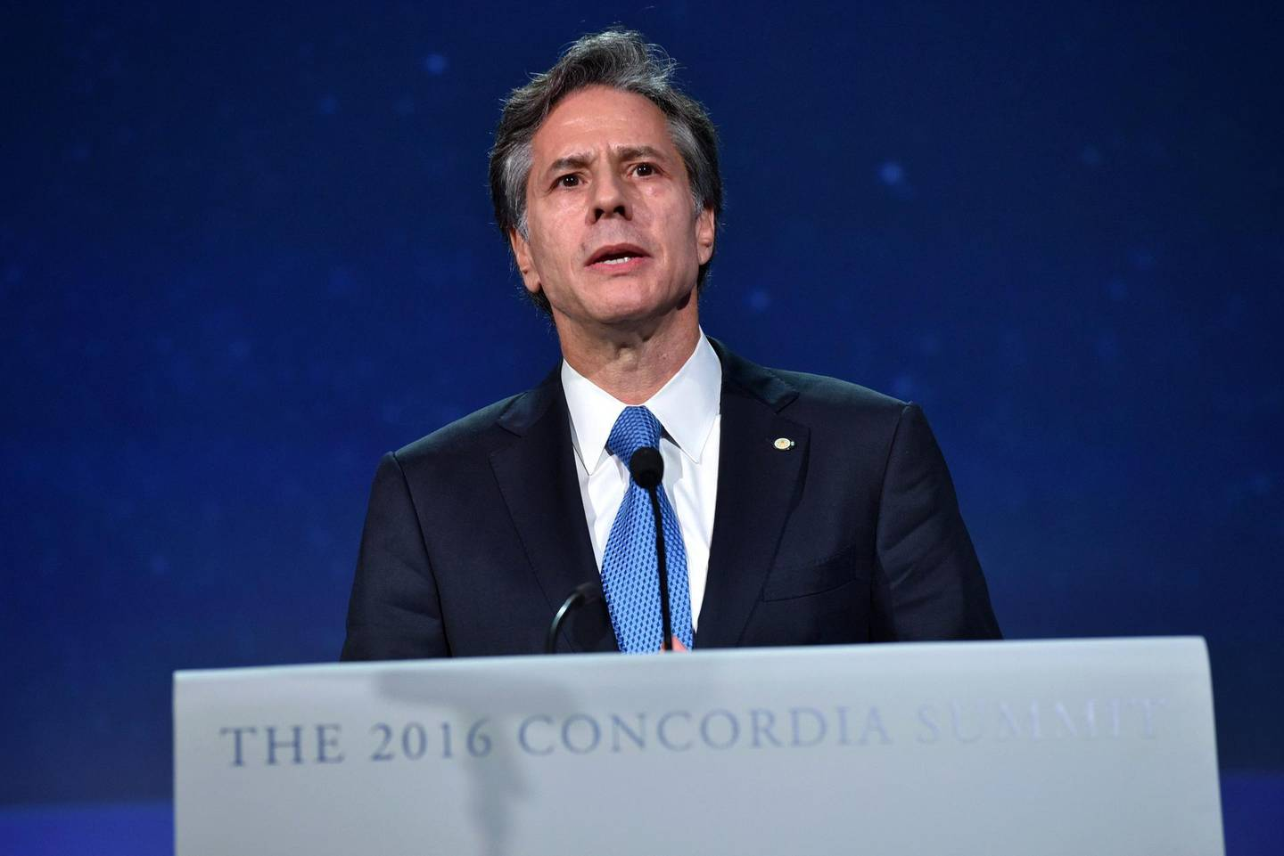 NEW YORK, NY - SEPTEMBER 19: United States Deputy Secretary of State and the former Deputy National Security Advisor for President Barack Obama Anthony Blinken speaks at the 2016 Concordia Summit - Day 1 at Grand Hyatt New York on September 19, 2016 in New York City.   Bryan Bedder/Getty Images for Concordia Summit/AFP