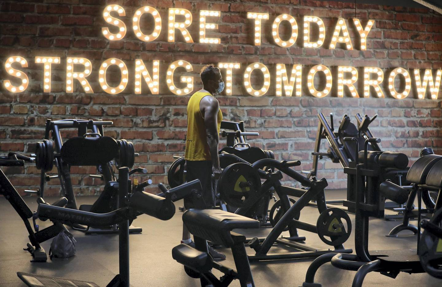 Dubai, United Arab Emirates - Reporter: Kelly Clark: News. People work out at GymNation in Al Quoz as gyms across Dubai start to open. Wednesday, May 27th, 2020. Dubai. Chris Whiteoak / The National