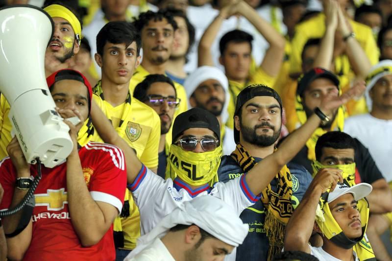 Abu Dhabi, UAE.  May 3, 2018.   President's Cup Final, Al Ain FC VS. Al Wasl.  Al Wasl fans during the match. Victor Besa / The NationalSportsReporter: John McAuley