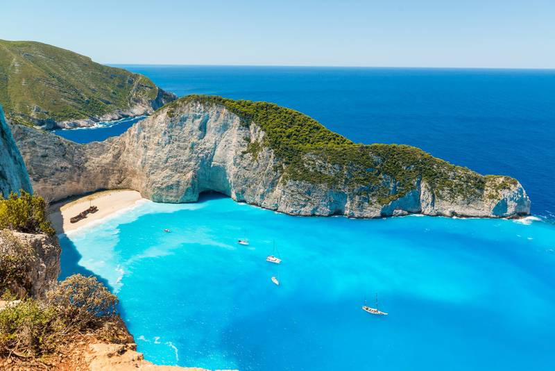 High angle view of Shipwreck beach (Navagio) ��n Zakynthos Greece ��n a beautiful summer day, Europe. Getty Images