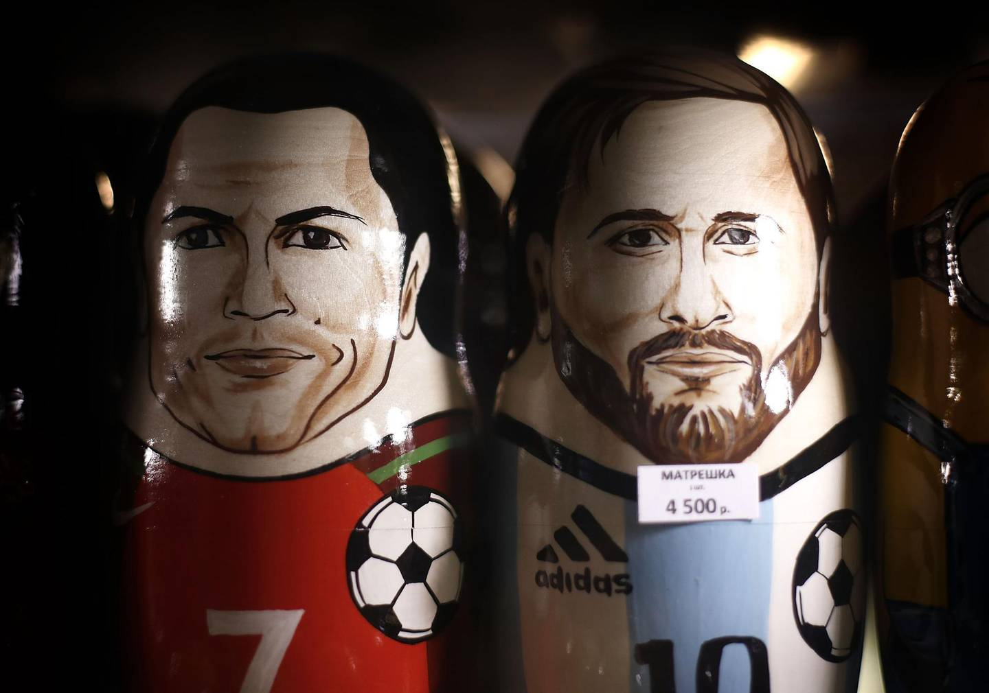 MOSCOW, RUSSIA - JUNE 08:  Russian Matryoshka dolls of Cristiano Ronaldo of Portugal and Lionel Messi of Argentina are seen in a souvenir souvenir shop ahead of the 2018 FIFA World Cup on June 8, 2018 in Moscow, Russia.  (Photo by Ryan Pierse/Getty Images)