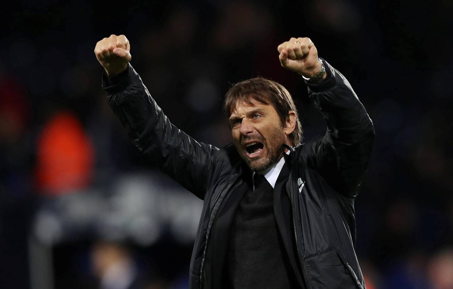 """Soccer Football - Premier League - West Bromwich Albion vs Chelsea - The Hawthorns, West Bromwich, Britain - November 18, 2017   Chelsea manager Antonio Conte celebrates after the match   Action Images via Reuters/Peter Cziborra    EDITORIAL USE ONLY. No use with unauthorized audio, video, data, fixture lists, club/league logos or """"live"""" services. Online in-match use limited to 75 images, no video emulation. No use in betting, games or single club/league/player publications. Please contact your account representative for further details."""