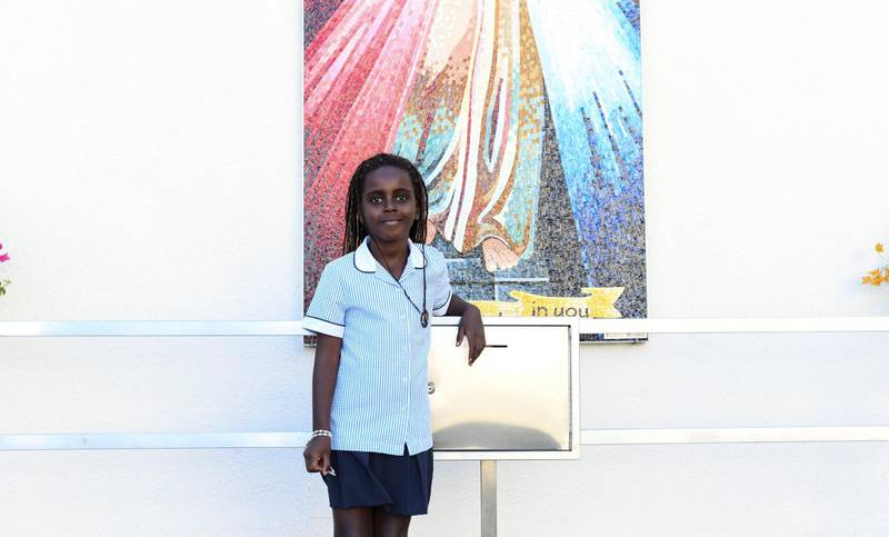 Abu Dhabi, United Arab Emirates - Sean Davis, 6 drew and presented a painting for the Pope at St. JosephÕs Cathedral on February 5, 2019. Khushnum Bhandari for The National