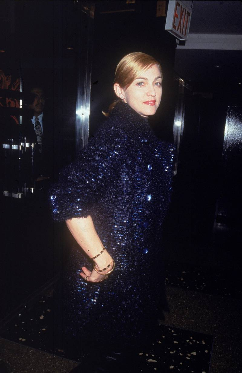 American singer Madonna wears a navy knit coat at the Gotham Awards, New York City, September 9, 1995. (Photo by Victor Malfronte/Getty Images)