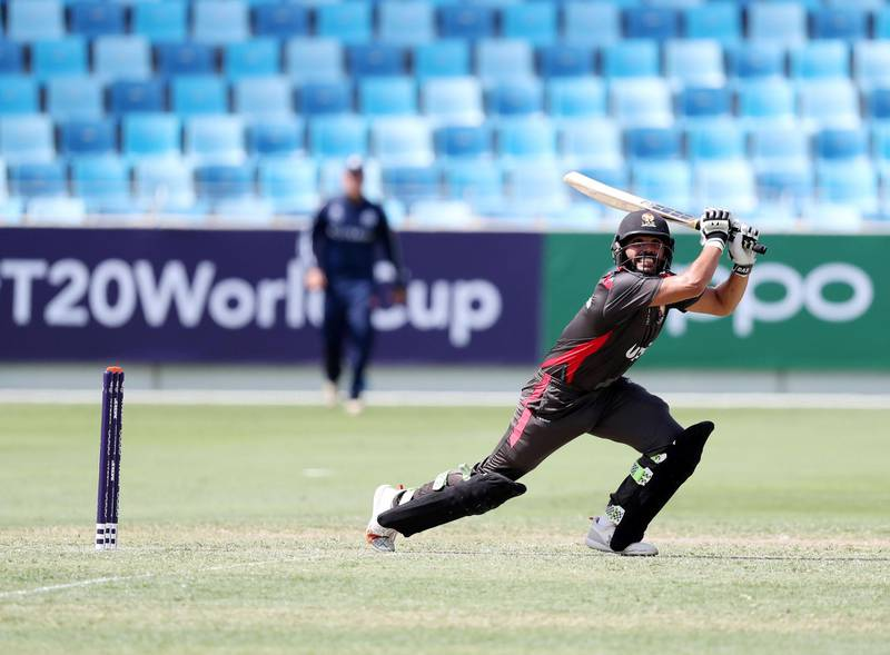 Dubai, United Arab Emirates - October 14, 2019: The UAE's Rameez Shahzad bats during the ICC Mens T20 World cup qualifier warm up game between the UAE and Scotland. Monday the 14th of October 2019. International Cricket Stadium, Dubai. Chris Whiteoak / The National