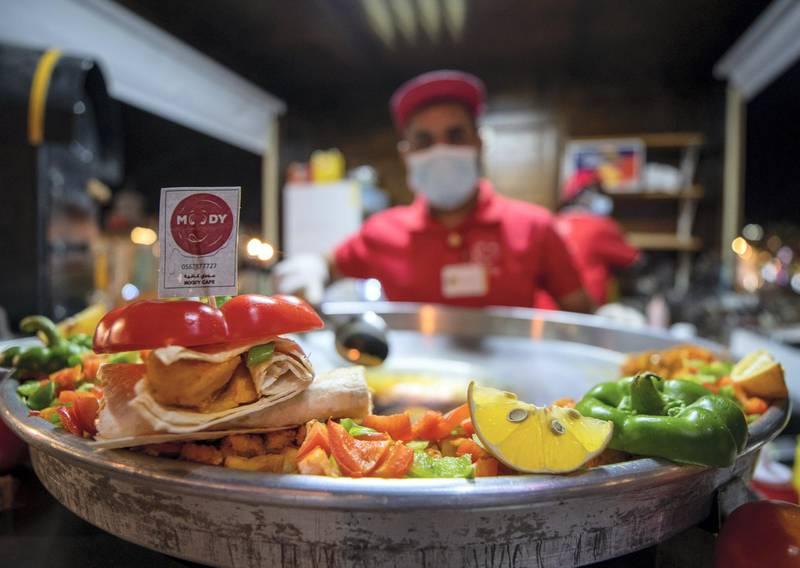 Abu Dhabi, United Arab Emirates, November 23, 2020.   Sheikh Zayed Heritage Festival celebrations at Al Wathba.  The Moody Cafe Turkish Shawarma.Victor Besa/The NationalReporter:  Samia BadihSection:  NAFor:  Standalone/Stock