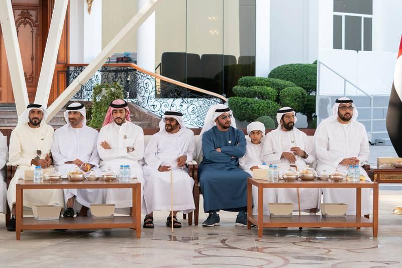 ABU DHABI, UNITED ARAB EMIRATES - February 24, 2020: (L-R) HH Sheikh Nahyan Bin Zayed Al Nahyan, Chairman of the Board of Trustees of Zayed bin Sultan Al Nahyan Charitable and Humanitarian Foundation, HH Sheikh Saeed bin Zayed Al Nahyan, Abu Dhabi Ruler's Representative, HH Sheikh Abdullah bin Rashid Al Mu'alla, Deputy Ruler of Umm Al Quwain, HH Sheikh Saif bin Mohamed Al Nahyan, HH Sheikh Hamdan bin Zayed Al Nahyan, Ruler's Representative in Al Dhafra Region, HH Sheikh Tahnoon bin Mohamed Al Nahyan, HH Sheikh Tahnoon bin Mohamed Al Nahyan, Ruler's Representative in Al Ain Region and HH Sheikh Rashid bin Saud bin Rashid Al Mu'alla, Crown Prince of Umm Al Quwain, attend a Sea Palace barza.  ( Mohamed Al Hammadi / Ministry of Presidential Affairs ) ---