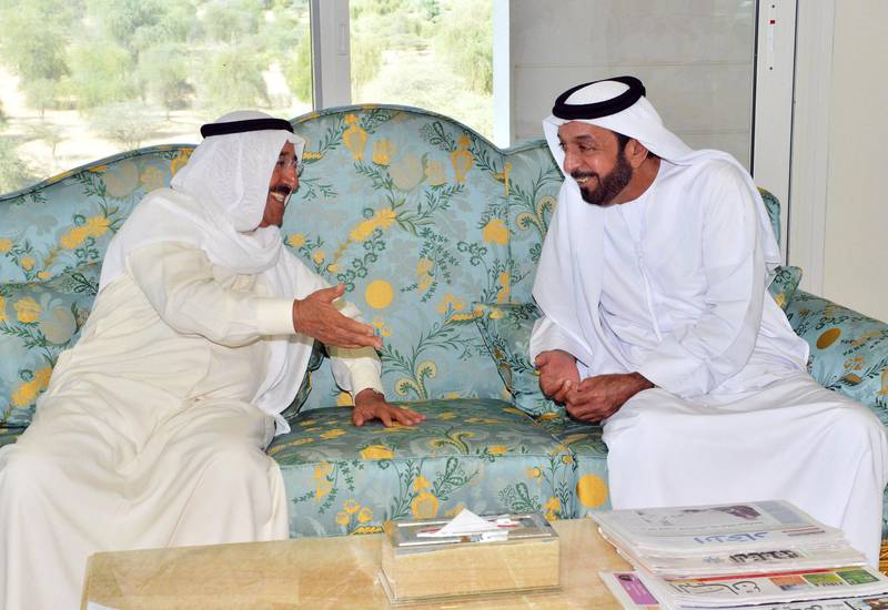 """A picture provided by the official Emirates news agency WAM shows President Sheikh Khalifa bin Zayed al-Nahayan (R) meets with Kuwaiti Emir Sheikh Sabah al-Ahmad al-Sabah in the city of Al-Ain, east of the capital Abu Dhabi on October 3, 2012. AFP PHOTO/HO/WAM  +++ RESTRICTED TO EDITORIAL USE - MANDATORY CREDIT """"AFP PHOTO / HO / WAM"""" - RESTRICTED TO EDITORIAL USE - MANDATORY CREDIT """"AFP PHOTO / HO / WAM"""" - NO MARKETING NO ADVERTISING CAMPAIGNS - DISTRIBUTED AS A SERVICE TO CLIENTS +++ (Photo by - / WAM / AFP)"""