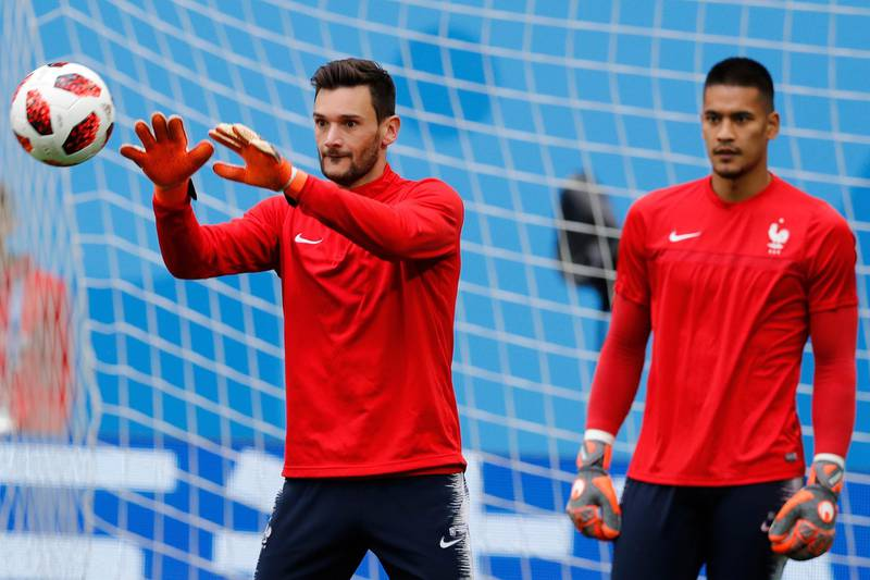 France goalkeeper Hugo Lloris catches the ball during an official training session at the eve of his semi-final against Belgium at the 2018 soccer World Cup in St. Petersburg, Russia, Monday, July 9, 2018. (AP Photo/David Vincent)