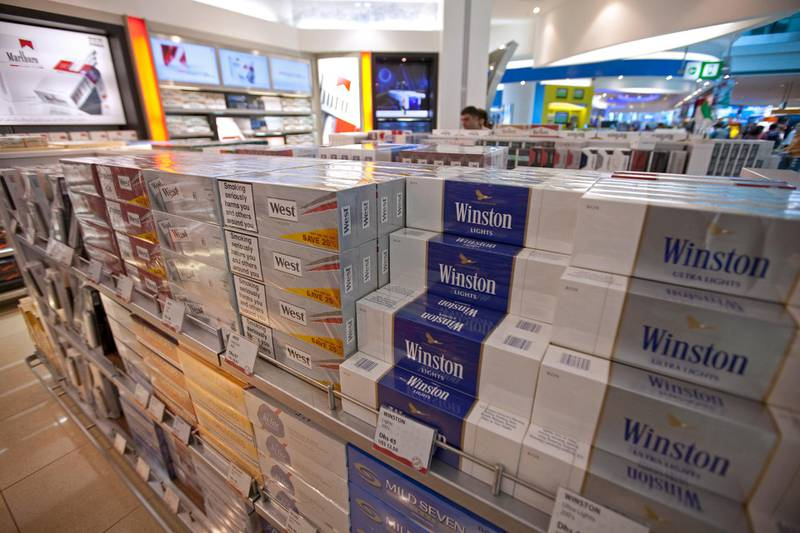 Dubai, December 5, 2010 - Cigarettes for sale at one of the Duty Free stores in Dubai's Airport Terminal 3, December 5, 2010. (Jeff Topping/The National)