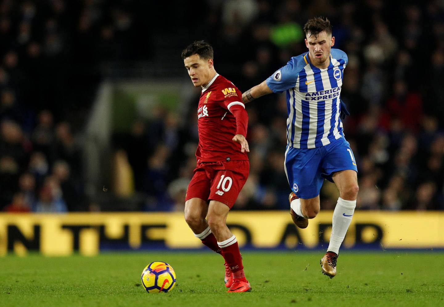 """Soccer Football - Premier League - Brighton & Hove Albion vs Liverpool - The American Express Community Stadium, Brighton, Britain - December 2, 2017   Brighton's Pascal Gross in action with Liverpool's Philippe Coutinho                Action Images via Reuters/John Sibley    EDITORIAL USE ONLY. No use with unauthorized audio, video, data, fixture lists, club/league logos or """"live"""" services. Online in-match use limited to 75 images, no video emulation. No use in betting, games or single club/league/player publications. Please contact your account representative for further details."""
