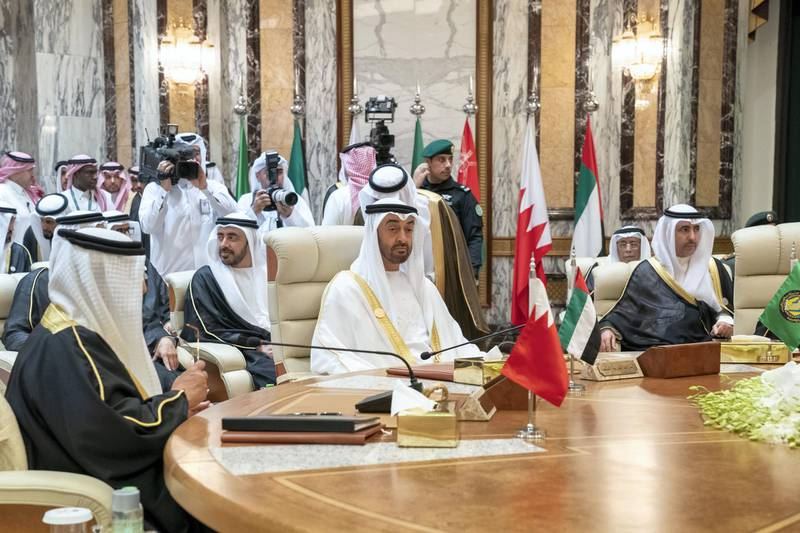 MECCA, SAUDI ARABIA - May 30, 2019: HH Sheikh Mohamed bin Zayed Al Nahyan, Crown Prince of Abu Dhabi and Deputy Supreme Commander of the UAE Armed Forces (), heads the UAE delegation to the Gulf Cooperation Council (GCC) emergency summit in Mecca.  ( Mohamed Al Hammadi / Ministry of Presidential Affairs ) ---