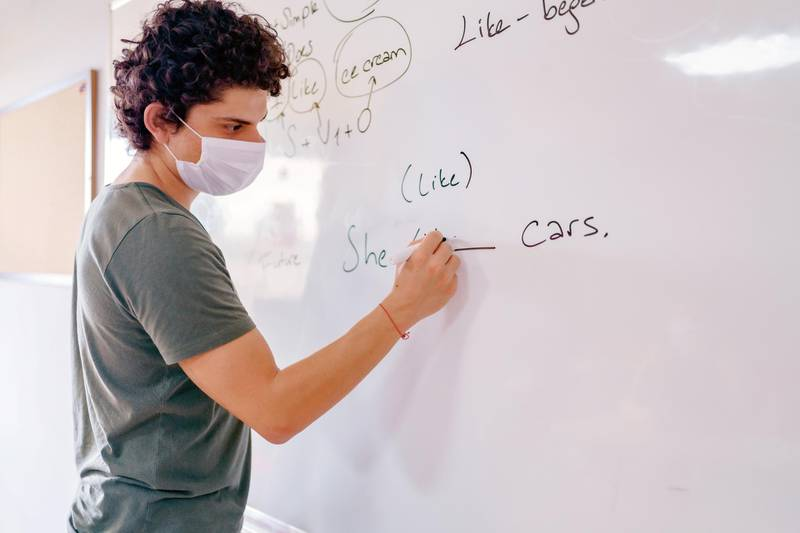 student at school wearing N95 Face masks