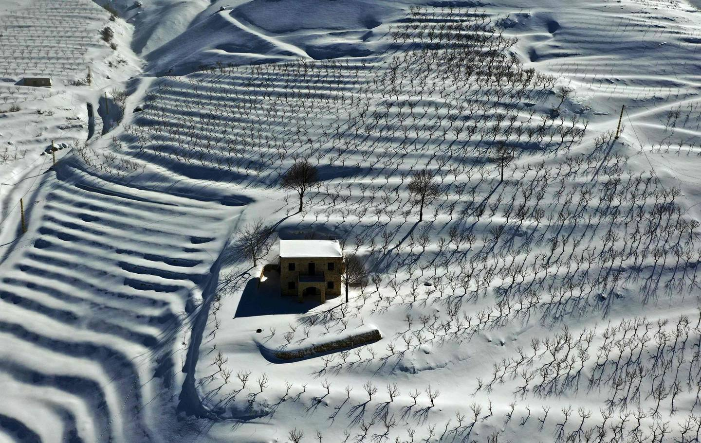 TOPSHOT - An aerial picture shows a blanket of snow covering agricultural fields in the Tannourine area in the Lebanese mountains, on January 22, 2021. / AFP / JOSEPH EID