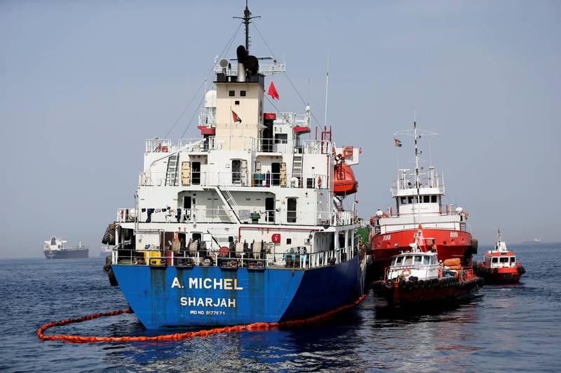 Tanker A. Michel is seen off the Port of Fujairah, United Arab Emirates, May 13, 2019. REUTERS/Satish Kumar