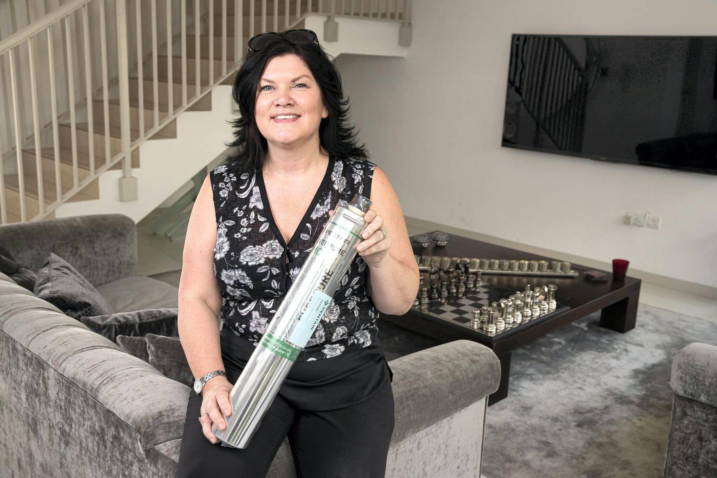 DUBAI, UNITED ARAB EMIRATES. 18 SEPTEMBER 2019. Carole Fraser, director No More Bottles, which provides filtration devices to provide drinking water from mainstream taps. (Photo: Antonie Robertson/The National) Journalist: David Dunn. Section: Business.