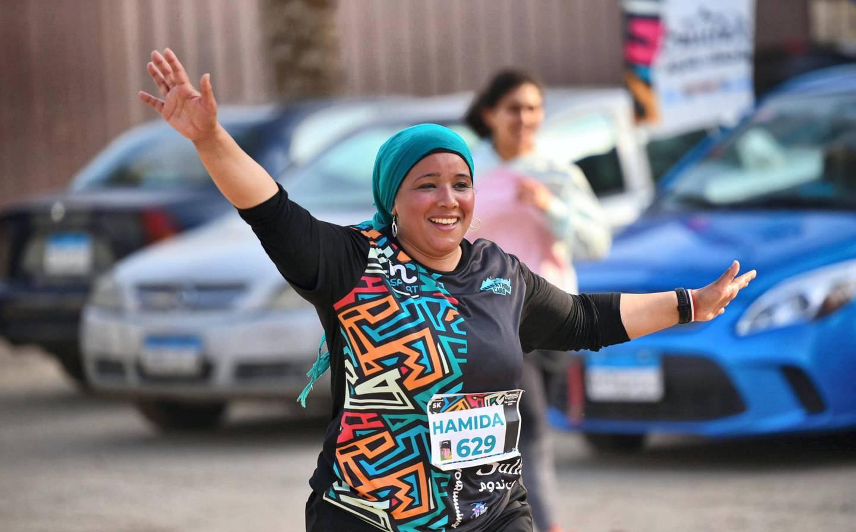 Hamida Azouz during her first 5K race. Courtesy Marathon Cairo