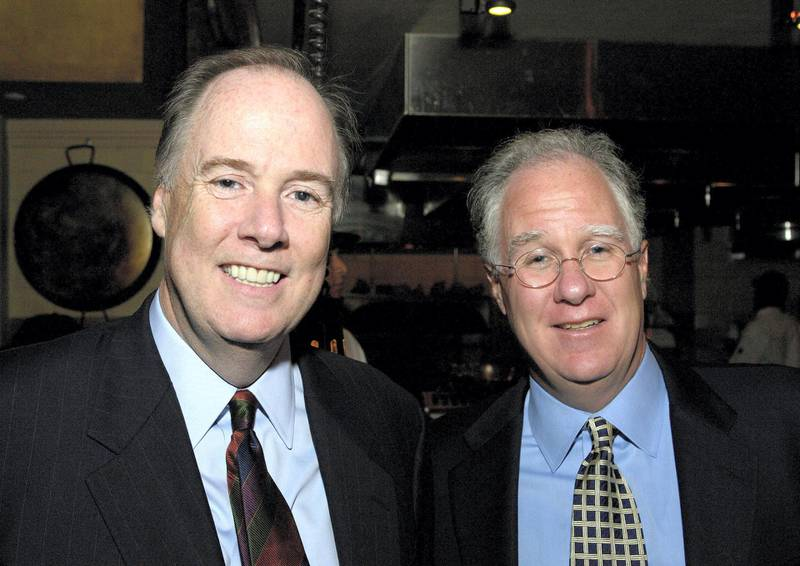 """Tom Donilon and Mike Donilon during Capitol File Hosts Reception for Elizabeth Edwards Celebrating Her Book """"Saving Graces: Finding Solace and Strength from Friends and Strangers"""" at Olive's Restaurant in Washington,, D.C., United States. (Photo by Paul Morigi/WireImage for Niche Media, LLC)"""