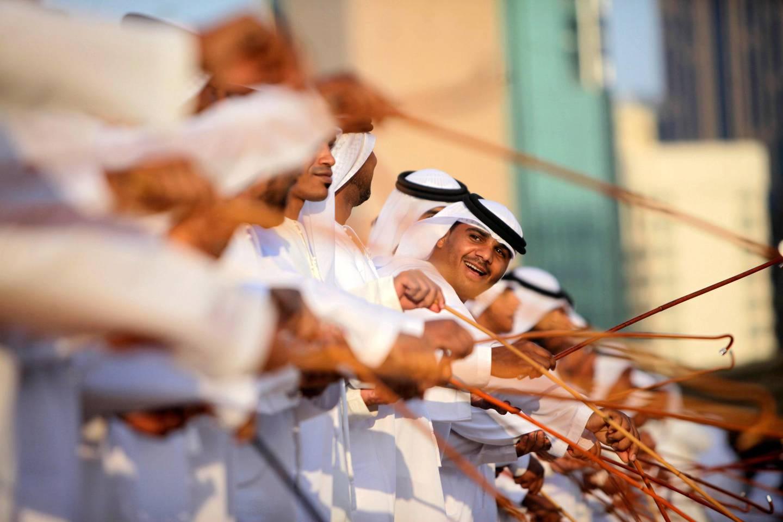 February 20, 2014 (Abu Dhabi) Emiratis perform a Traditional Emirati Dance during the Qasr al Hosn festival in Abu Dhabi February 20, 2014.  (Sammy Dallal / The National)