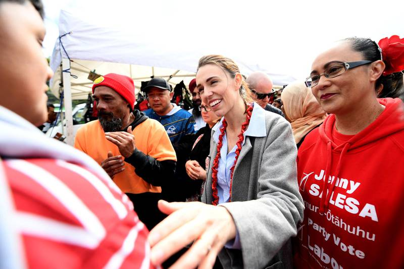 AUCKLAND, NEW ZEALAND - OCTOBER 10: Prime Minister And Labour Leader Jacinda Ardern meets supporters at Otara Market on October 10, 2020 in Auckland, New Zealand. The 2020 New Zealand General Election was originally due to be held on Saturday 19 September but was delayed due to the re-emergence of COVID-19 in the community. (Photo by Hannah Peters/Getty Images)
