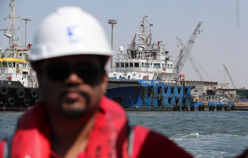 ABU DHABI, UNITED ARAB EMIRATES , March 3  – 2020 :- Vessels at the ADNOC Logistics and Services Maritime Logistics Base in Mussafah in Abu Dhabi. (Pawan Singh / The National) PLEASE NOTE: NOT TO BE USED FOR ANY OTHER STORY