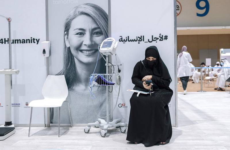 Abu Dhabi, United Arab Emirates, August 6, 2020.  A vaccine volunteer waits her turn to get a medical check up at the ADNEC volunteer facility. Victor Besa /The NationalSection: NAReporter:  Shireena Al Nowais