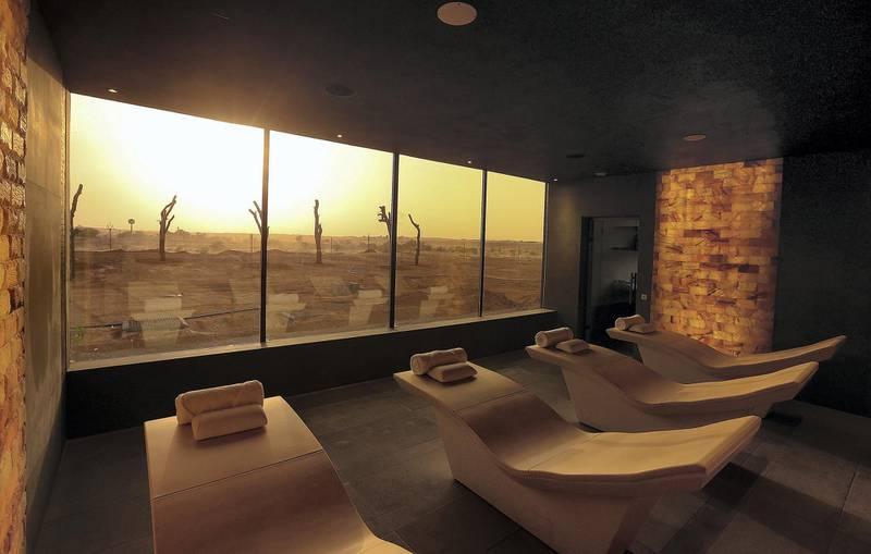 Sharjah, August, 18, 2019: Himalaya Salt Room in the Spa at the Al Faya Lodge in Sharjah. Satish Kumar/ For the National / Story by Rupert Hawksley