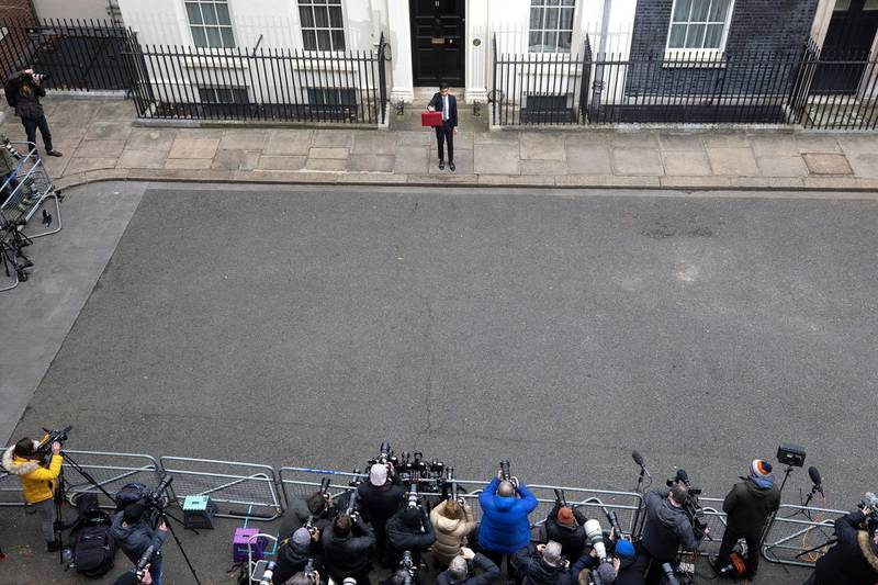 03/03/2021. London, United Kingdom. Chancellor of the Exchequer Rishi Sunak leaves Downing Street to deliver his annual budget in parliament . 11 Downing Street. Picture by Simon Dawson / No 10 Downing Street