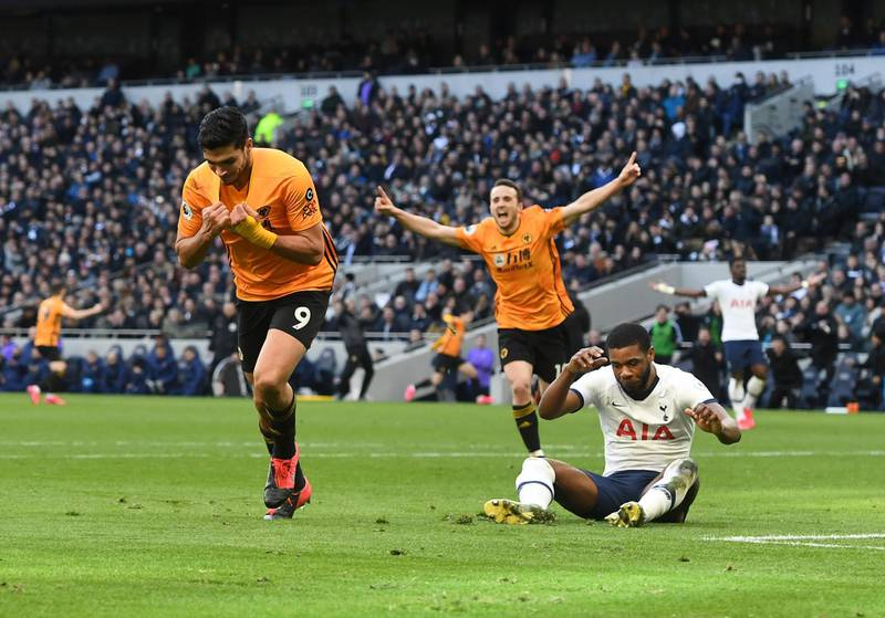 epa08262488 Raul Jimenez of Wolverhampton (L) celebrates scoring a goal during the English Premier League match between Tottenham Hotspur and Wolverhampton Wanderers held at the Tottenham stadium in London, Britain, 01 March 2020.  EPA/FACUNDO ARRIZABALAGA EDITORIAL USE ONLY. No use with unauthorized audio, video, data, fixture lists, club/league logos or 'live' services. Online in-match use limited to 120 images, no video emulation. No use in betting, games or single club/league/player publications
