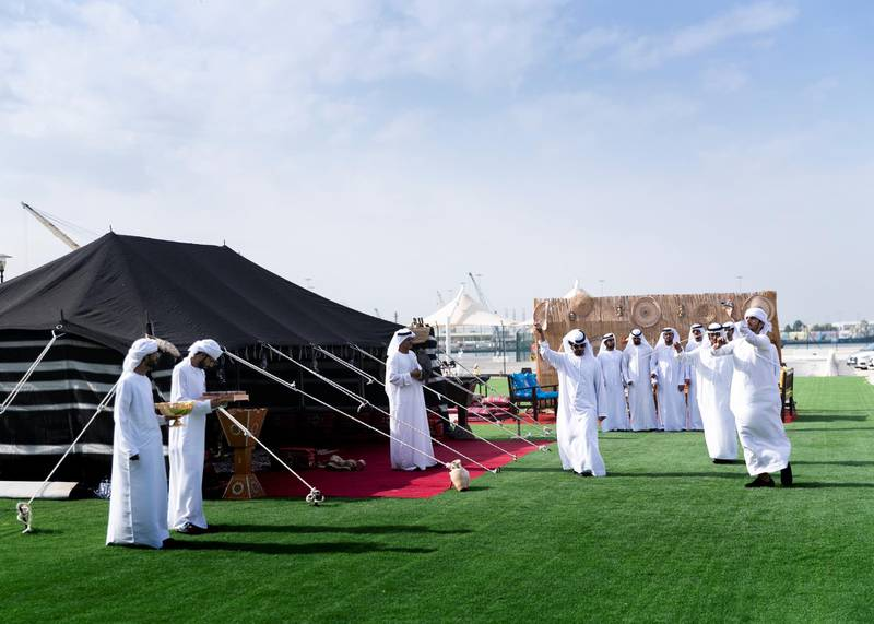 ABU DHABI, UNITED ARAB EMIRATES. 8 DECEMBER 2019. Ayyala performing for the arriving traveleres at Abu Dhabi Cruise Terminal.(Photo: Reem Mohammed/The National)Reporter:Section: