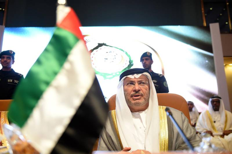 UAE Minister of State for Foreign Affairs Anwar Gargash attends the preparatory meeting of Arab Foreign Ministers ahead of the 28th Summit of the Arab League in Riyadh on April 12, 2018. / AFP PHOTO / FAYEZ NURELDINE