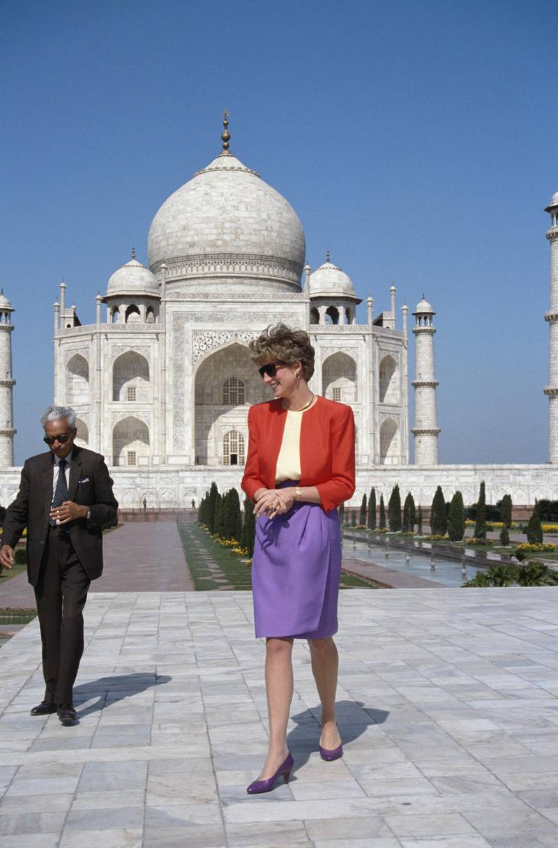 The Princess of Wales outside the Taj Mahal in Agra, 11th February 1992. (Photo by Jayne Fincher/Princess Diana Archive/Getty Images)