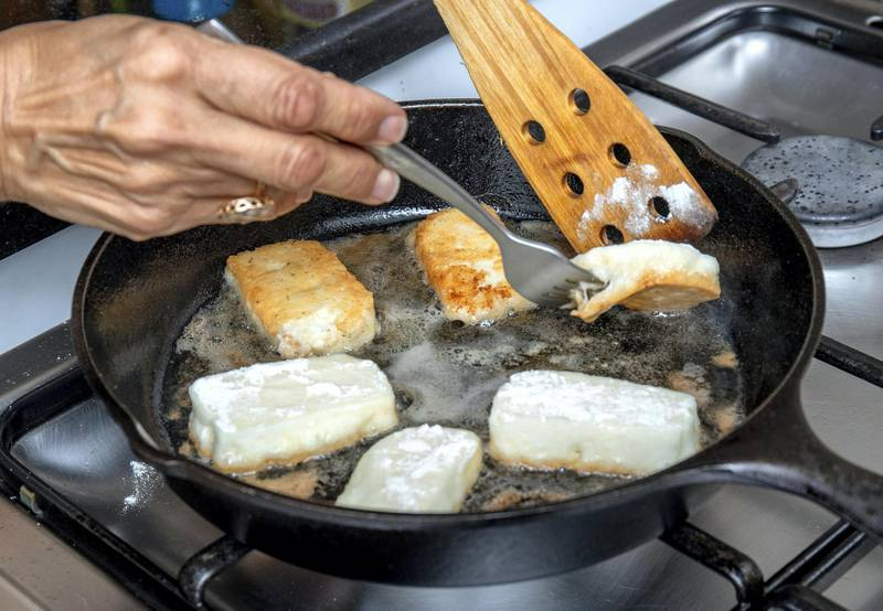 Abu Dhabi, United Arab Emirates, April 25, 2021.Ramadan Recipes by Hanan Sayed Worrell.  Grilled halloumi.Victor Besa/The NationalSection:  If