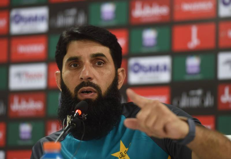 Pakistan's cricket head coach and chief selector, Misbah-ul-Haq gives a press conference in Karachi on September 25, 2019.   / AFP / ASIF HASSAN