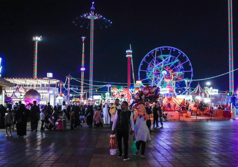 Abu Dhabi, United Arab Emirates, January 5, 2020.  Photo essay of Global Village.---Global Village rides area.Victor Besa / The NationalSection:  WKReporter:  Katy Gillett