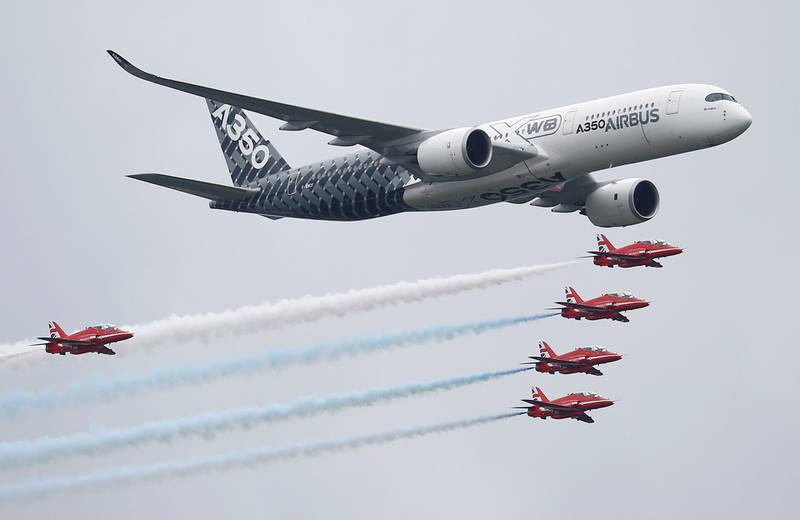 FILE PHOTO: An Airbus A350 aircraft flies in formation with Britain's Red Arrows flying display team at the Farnborough International Airshow in Farnborough, Britain July 15, 2016.  REUTERS/Peter Nicholls/File Photo