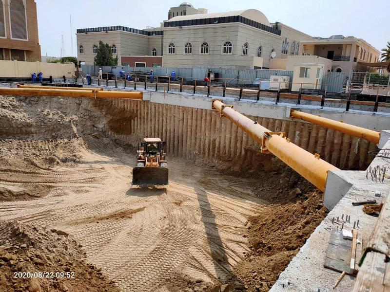 Construction of The Hindu Temple, Jebel Ali, June - August 2020. Courtesy Hindu Temple, Jebel Ali