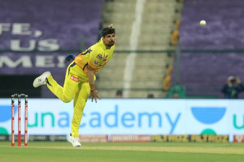 Karn Sharma of Chennai Superkings bowls during match 21 of season 13 of the Dream 11 Indian Premier League (IPL) between the Kolkata Knight Riders and the Chennai Super Kings at the Sheikh Zayed Stadium, Abu Dhabi in the United Arab Emirates on the 7th October 2020. Photo by: Vipin Pawar  / Sportzpics for BCCI