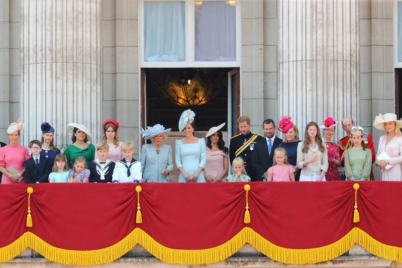 Trooping the Colour 2018: The Queen's Birthday Parade at The Mall  Featuring: Camilla, Duchess of Cornwall, Catherine, Duchess of Cambridge, Kate Middleton, Prince Harry, Duke of Sussex, Meghan Markle, Duchess of Sussex, Princess Eugenie of York, Princess Beatrice of York Where: London, United Kingdom When: 09 Jun 2018 Credit: John Rainford/WENN