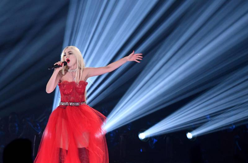 SEVILLE, SPAIN - NOVEMBER 03:  Ava Max performs on stage during the MTV EMAs 2019 at FIBES Conference and Exhibition Centre on November 03, 2019 in Seville, Spain. (Photo by Kevin Mazur/WireImage)