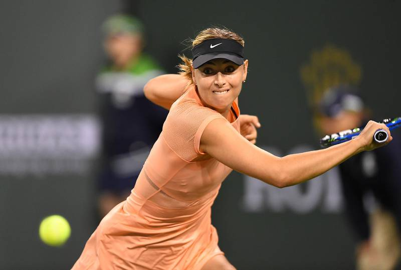 Mar 7, 2018; Indian Wells, CA,  Maria Sharapova (RUS) in her first round match against Naomi Osaka (not pictured) at the BNP Paribas Open at the Indian Wells Tennis Garden. Stosur won the match. Mandatory Credit: Jayne Kamin-Oncea-USA TODAY Sports